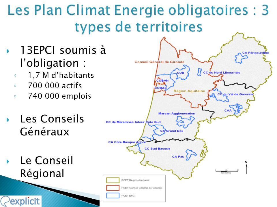 Les Plan Climat Energie obligatoires : 3 types de territoires