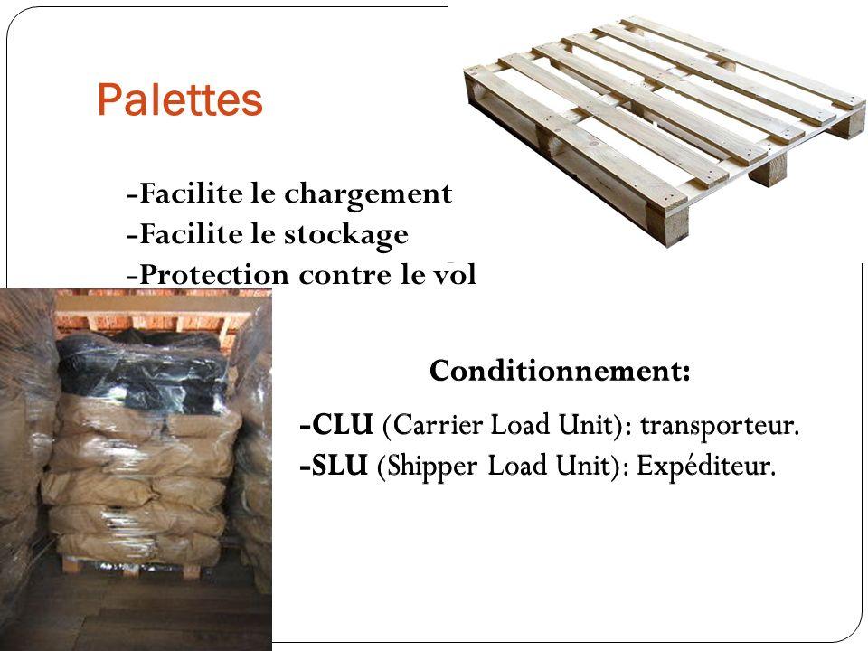 Palettes -Facilite le chargement -Facilite le stockage