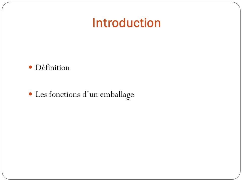 Introduction Définition Les fonctions d'un emballage