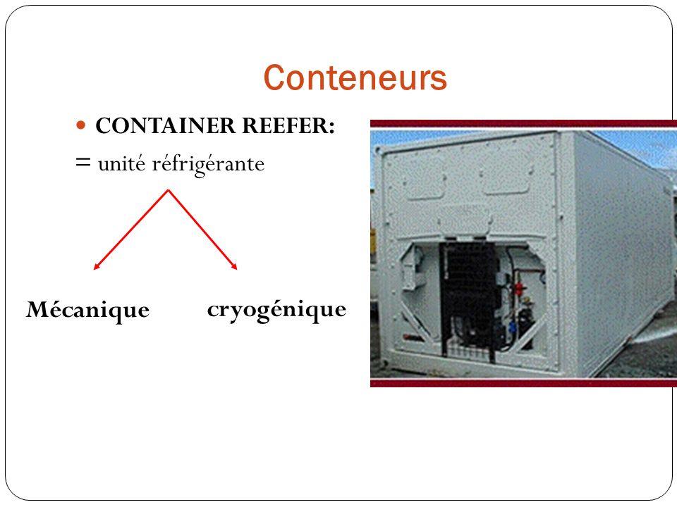 Conteneurs CONTAINER REEFER: = unité réfrigérante Mécanique