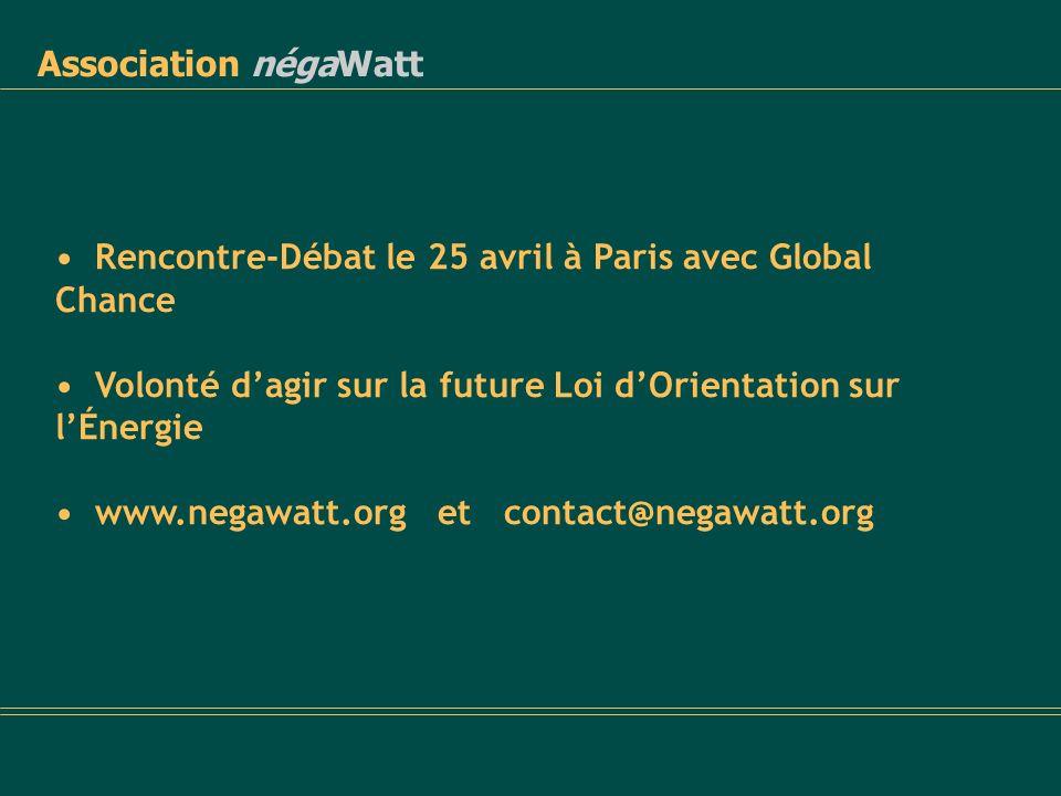 Association négaWatt • Rencontre-Débat le 25 avril à Paris avec Global Chance. • Volonté d'agir sur la future Loi d'Orientation sur l'Énergie.