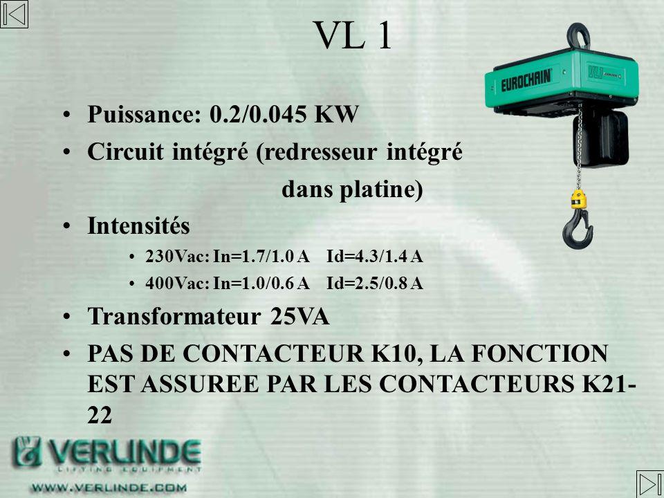 VL 1 Puissance: 0.2/0.045 KW Circuit intégré (redresseur intégré