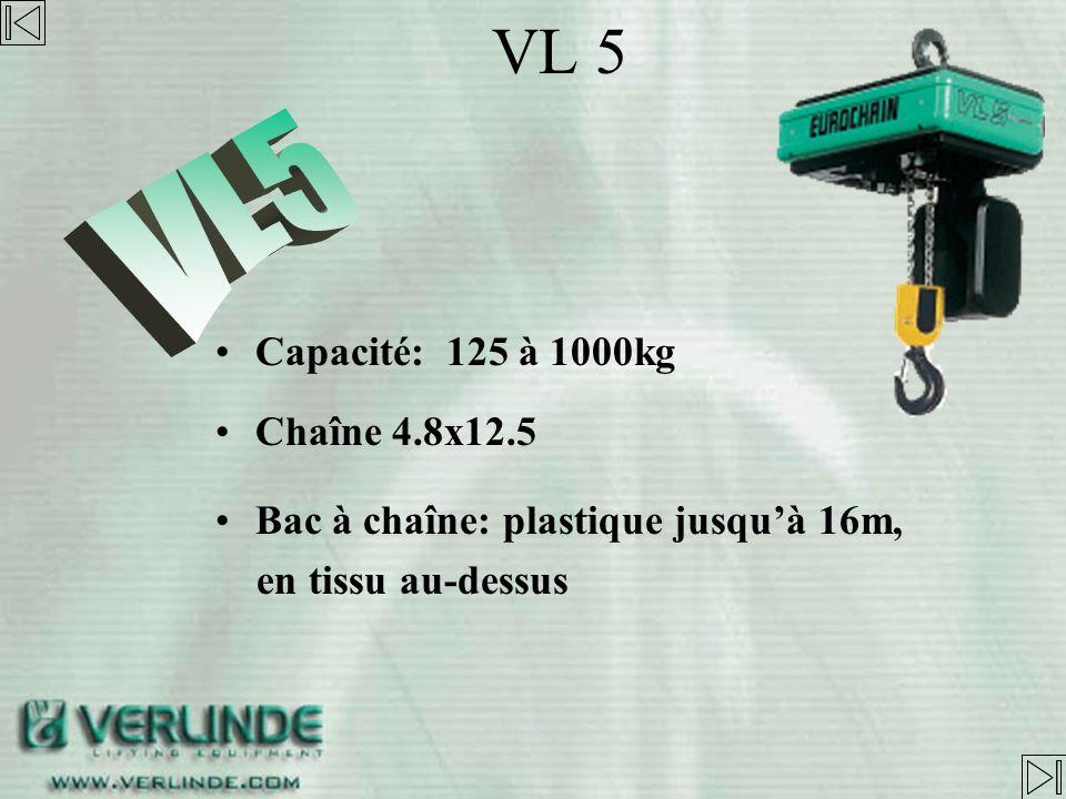 VL 5 VL5 Capacité: 125 à 1000kg Chaîne 4.8x12.5