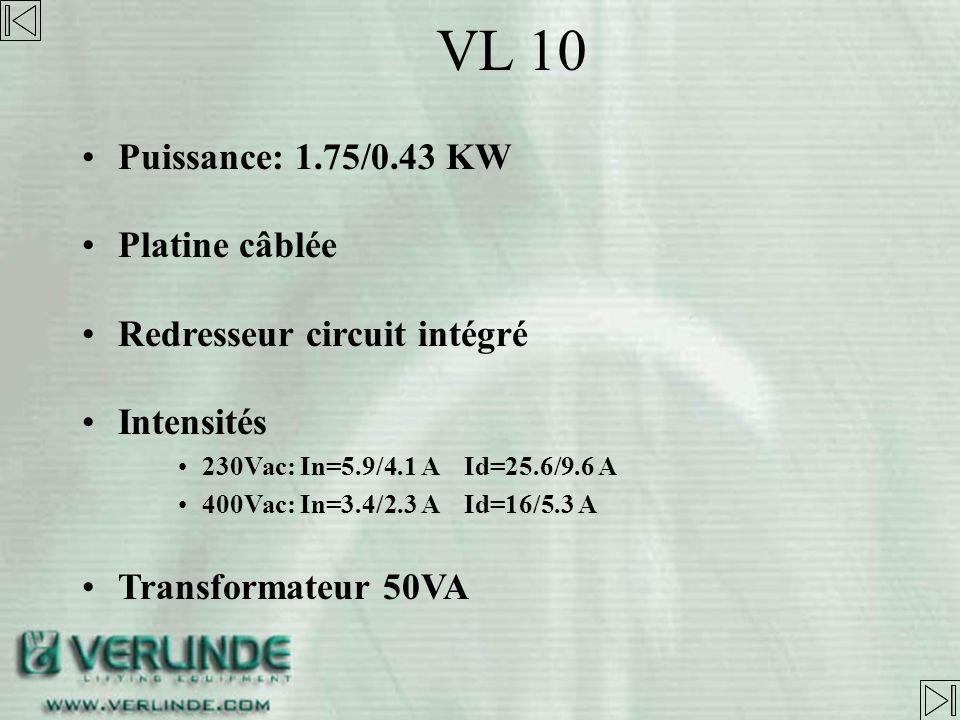 VL 10 Puissance: 1.75/0.43 KW Platine câblée