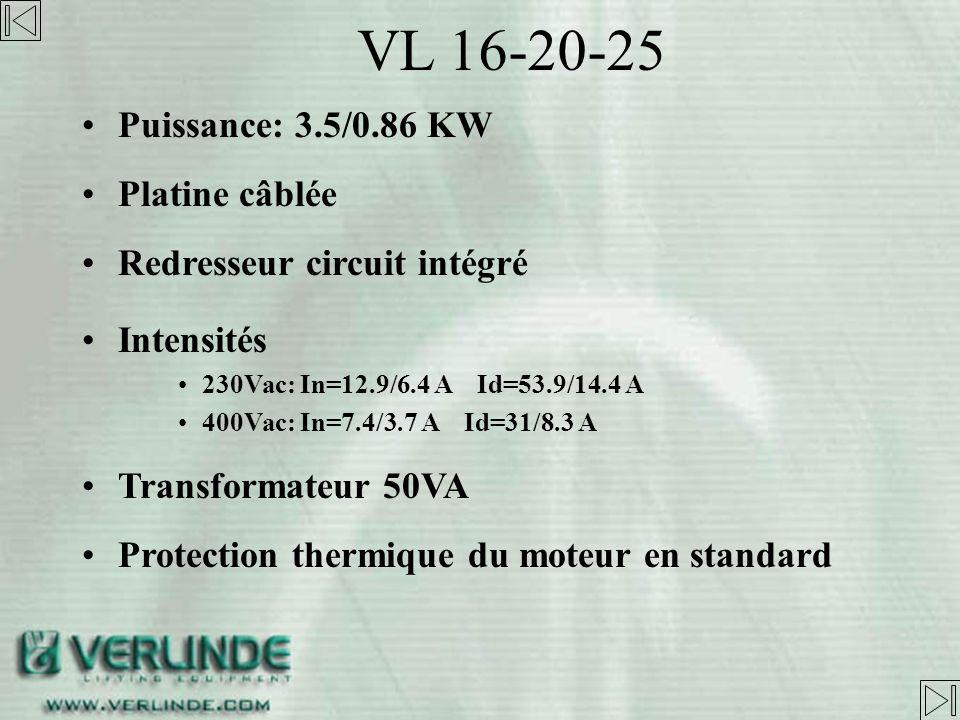 VL 16-20-25 Puissance: 3.5/0.86 KW Platine câblée