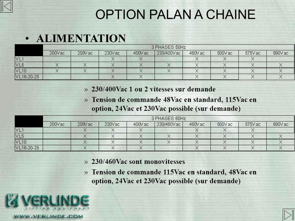 OPTION PALAN A CHAINE ALIMENTATION
