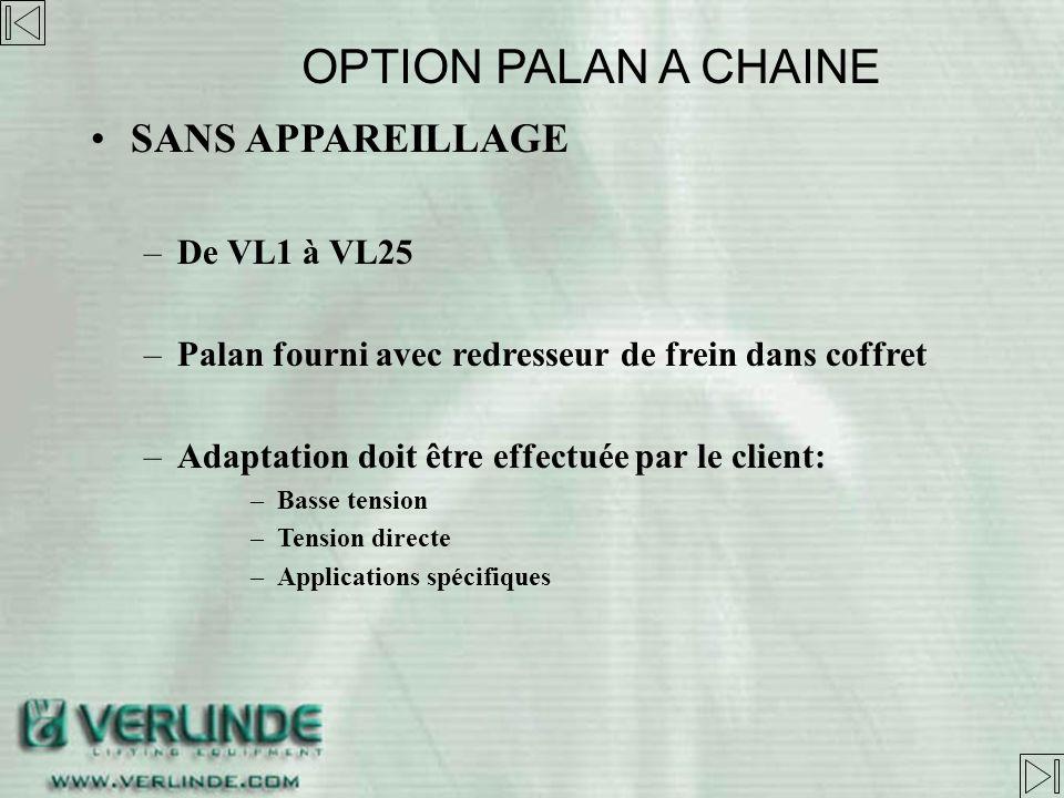 OPTION PALAN A CHAINE SANS APPAREILLAGE De VL1 à VL25