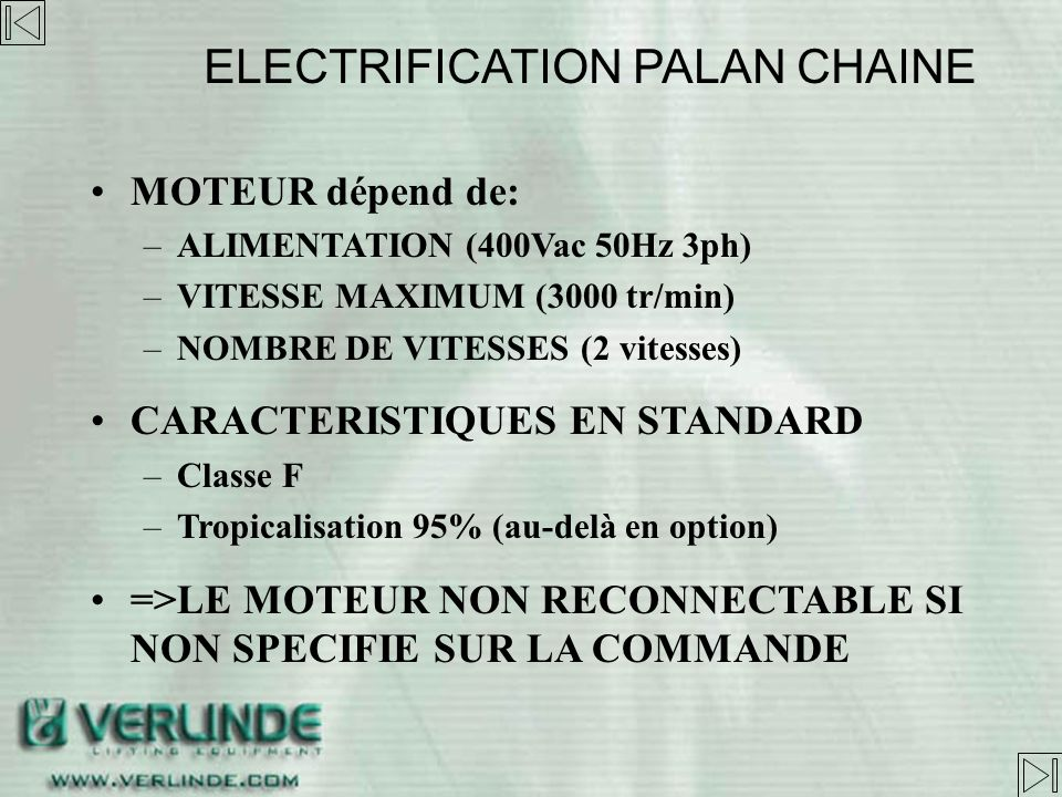 ELECTRIFICATION PALAN CHAINE