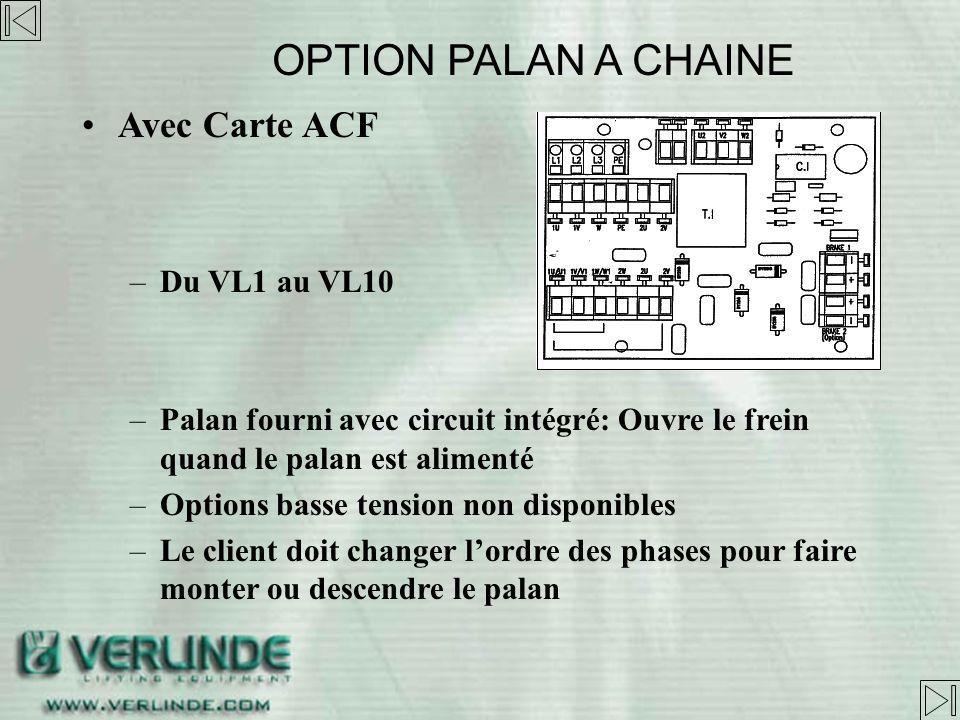 OPTION PALAN A CHAINE Avec Carte ACF Du VL1 au VL10