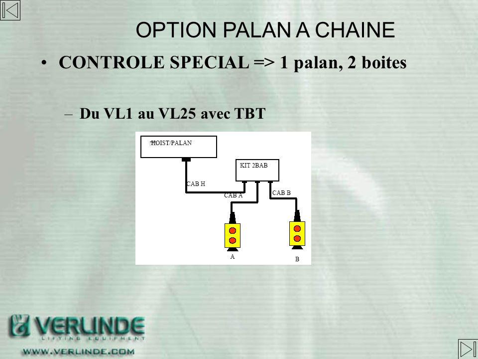 OPTION PALAN A CHAINE CONTROLE SPECIAL => 1 palan, 2 boites
