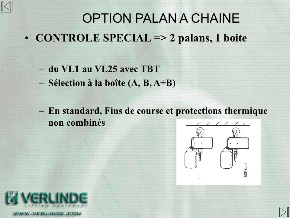 OPTION PALAN A CHAINE CONTROLE SPECIAL => 2 palans, 1 boite