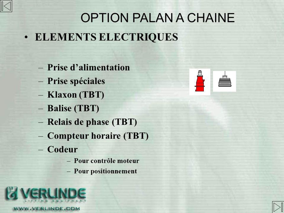 OPTION PALAN A CHAINE ELEMENTS ELECTRIQUES Prise d'alimentation