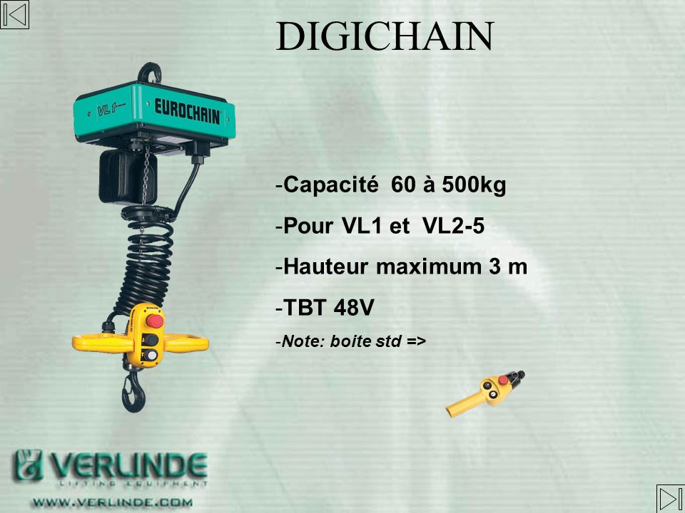 DIGICHAIN Capacité 60 à 500kg Pour VL1 et VL2-5 Hauteur maximum 3 m