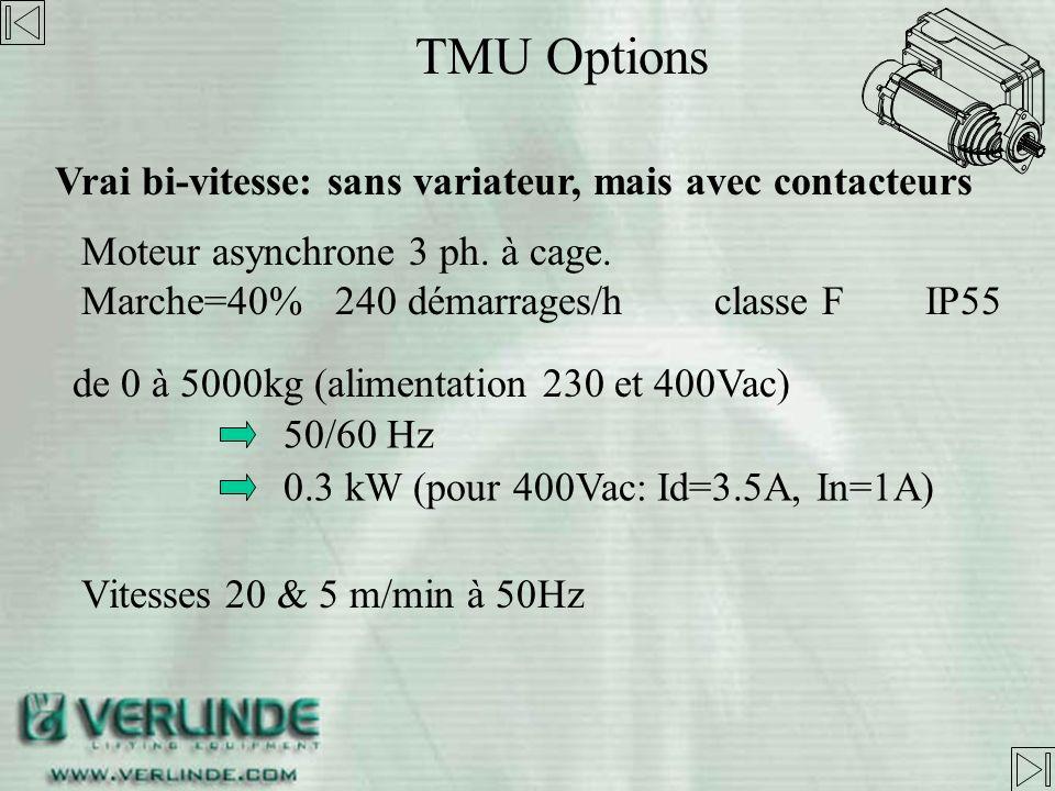 TMU Options Vrai bi-vitesse: sans variateur, mais avec contacteurs