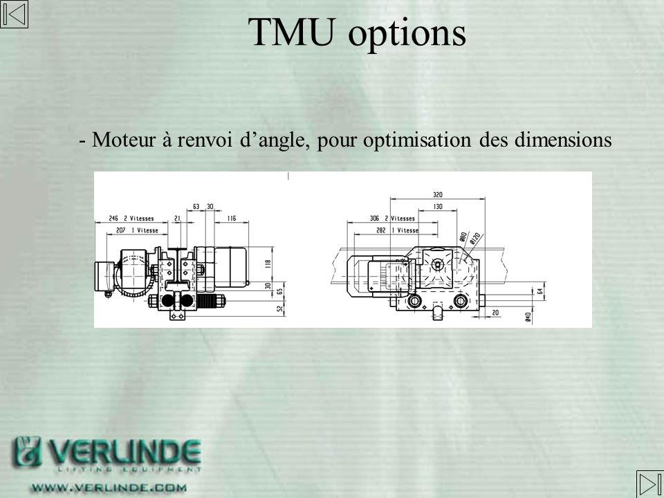 TMU options Moteur à renvoi d'angle, pour optimisation des dimensions