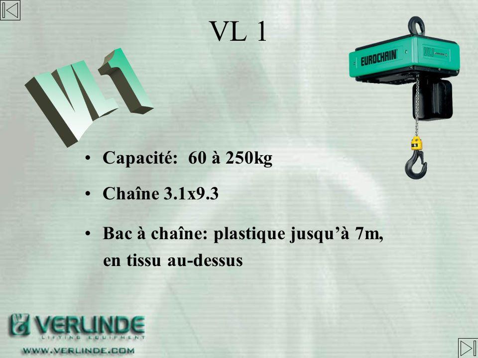 VL 1 VL 1 Capacité: 60 à 250kg Chaîne 3.1x9.3