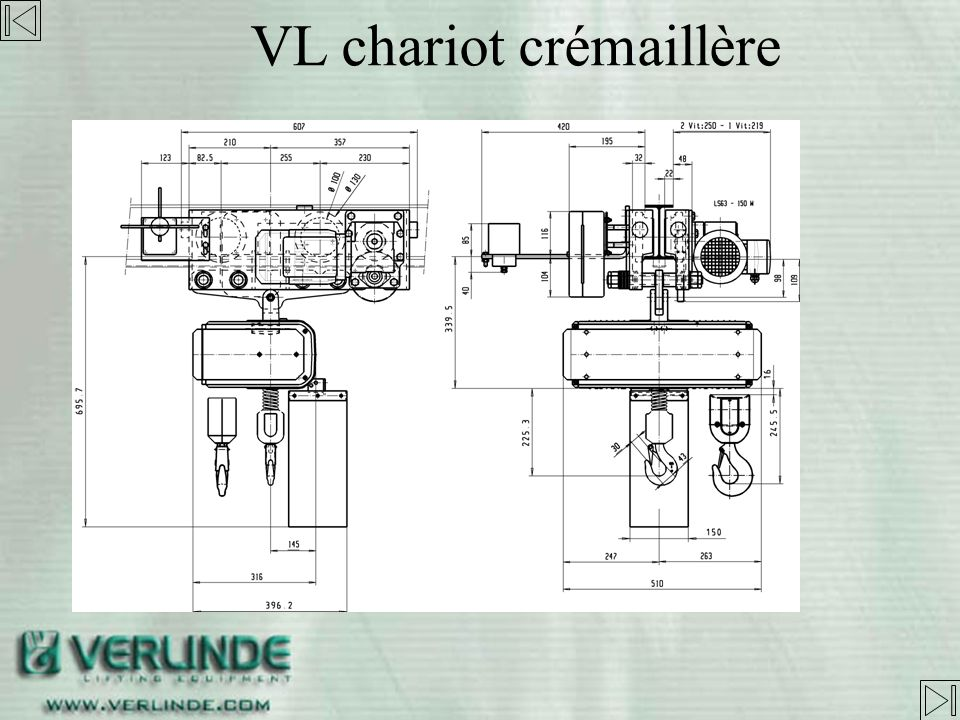 VL chariot crémaillère