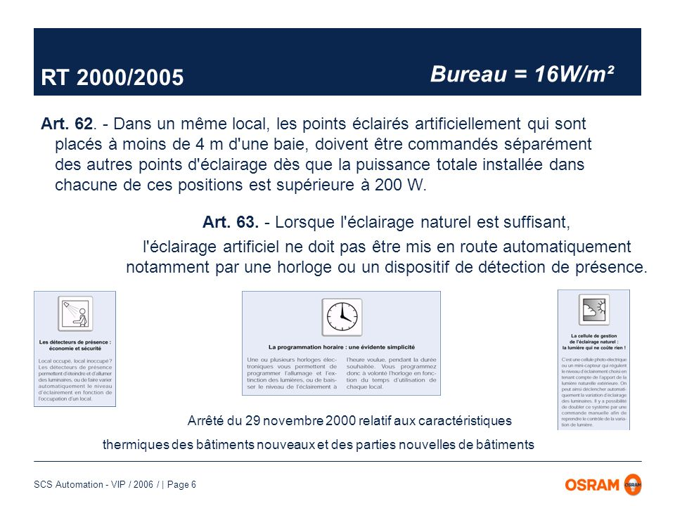 RT 2000/2005 Bureau = 16W/m².