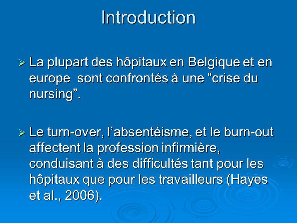 Introduction La plupart des hôpitaux en Belgique et en europe sont confrontés à une crise du nursing .
