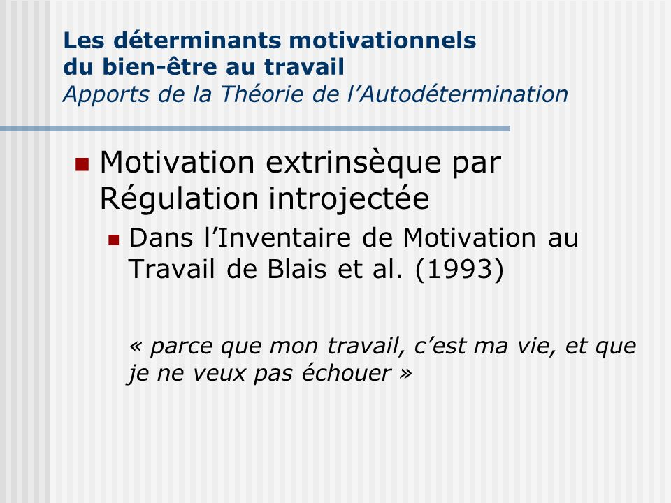 Motivation extrinsèque par Régulation introjectée
