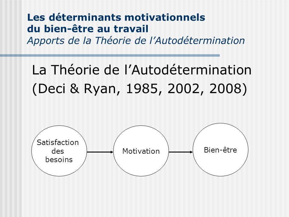 La Théorie de l'Autodétermination (Deci & Ryan, 1985, 2002, 2008)