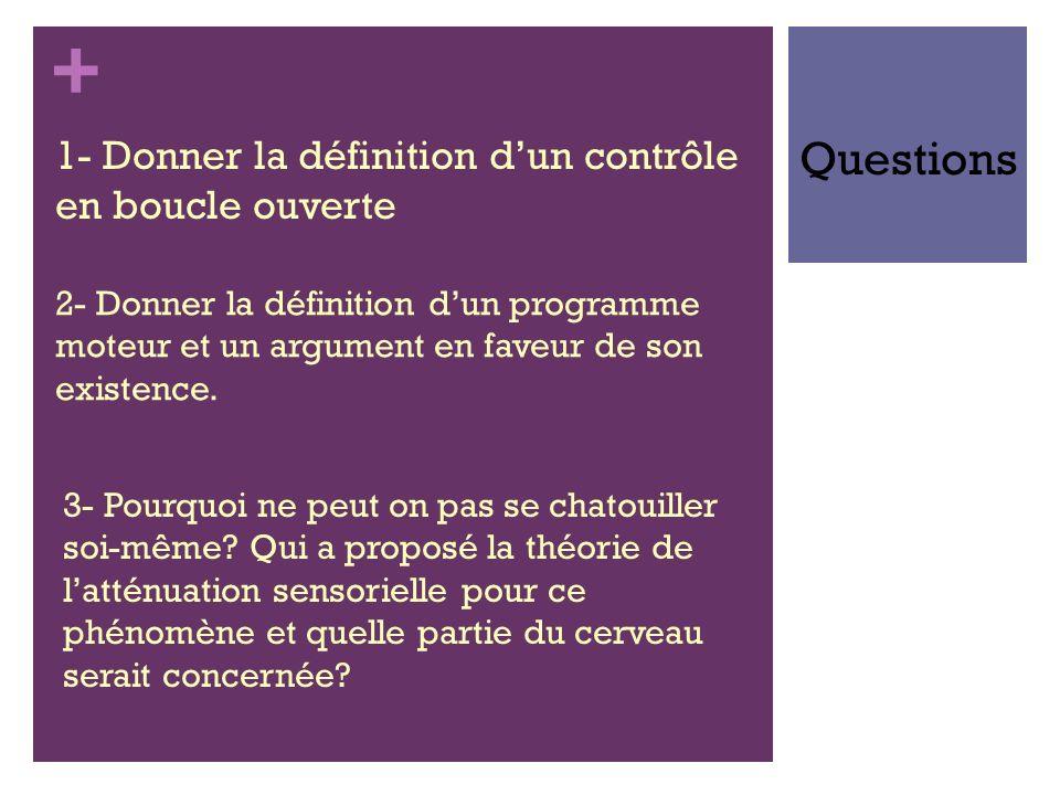 Questions 1- Donner la définition d'un contrôle en boucle ouverte