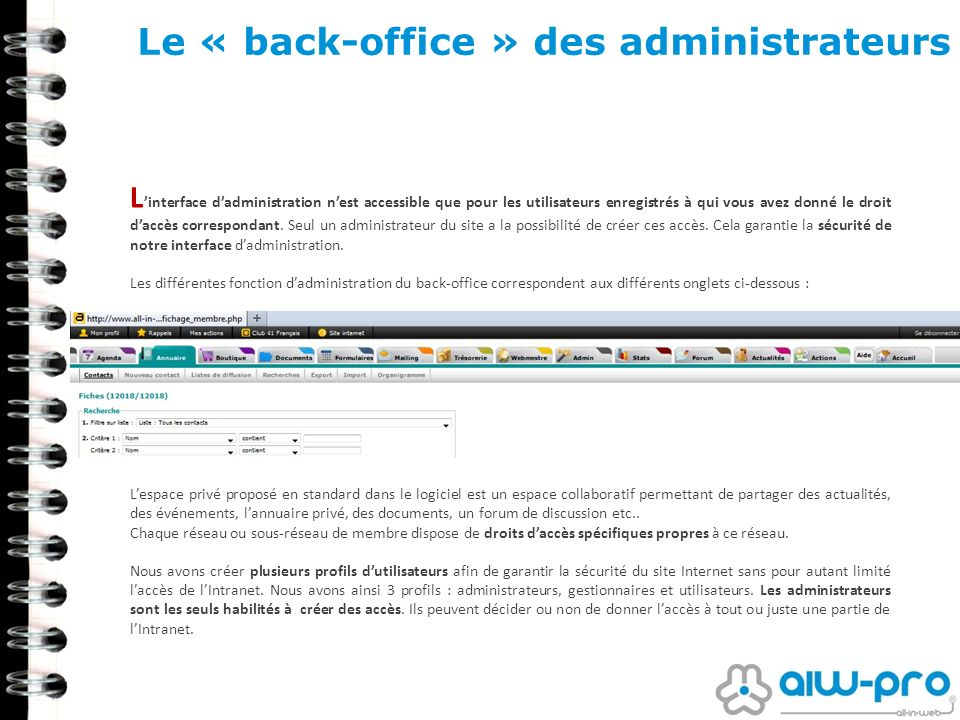 Le « back-office » des administrateurs