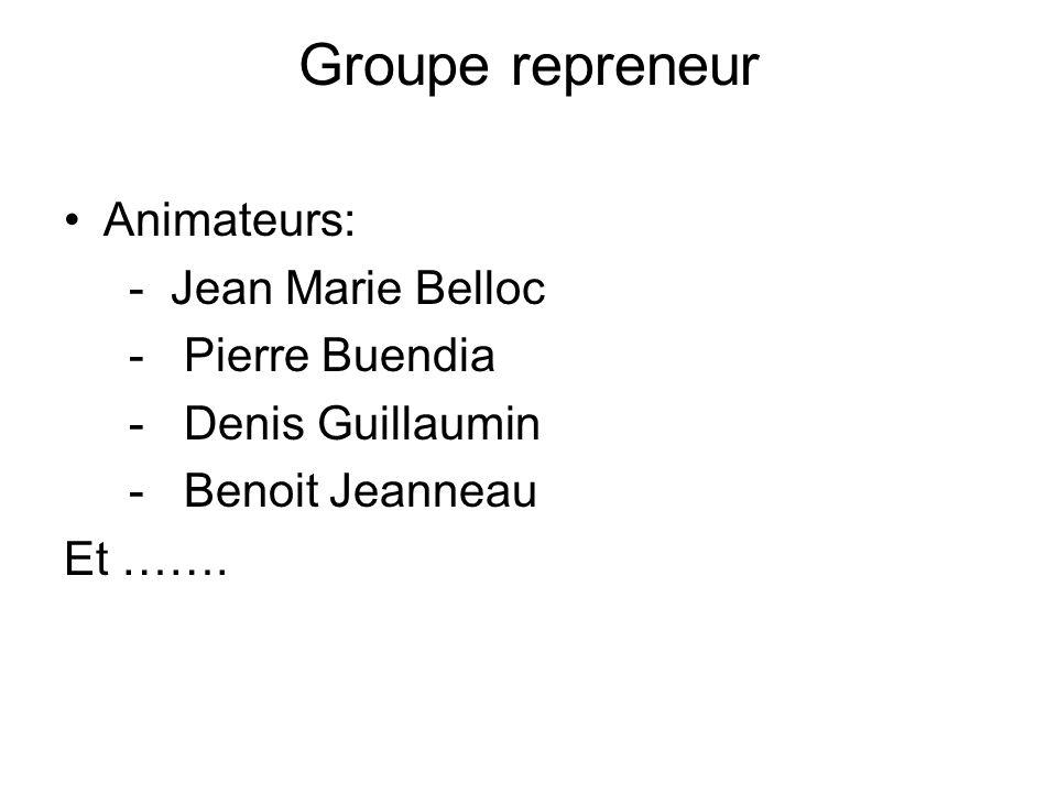 Groupe repreneur Animateurs: - Jean Marie Belloc - Pierre Buendia