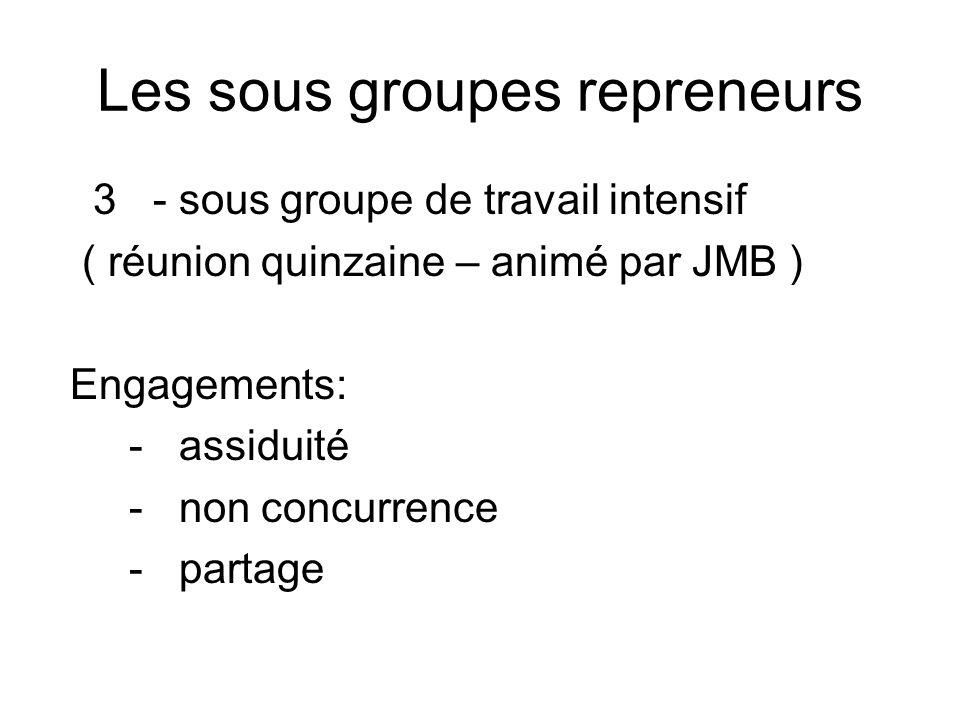 Les sous groupes repreneurs