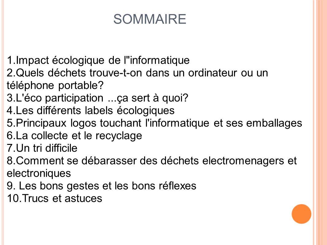 SOMMAIRE 1.Impact écologique de l informatique
