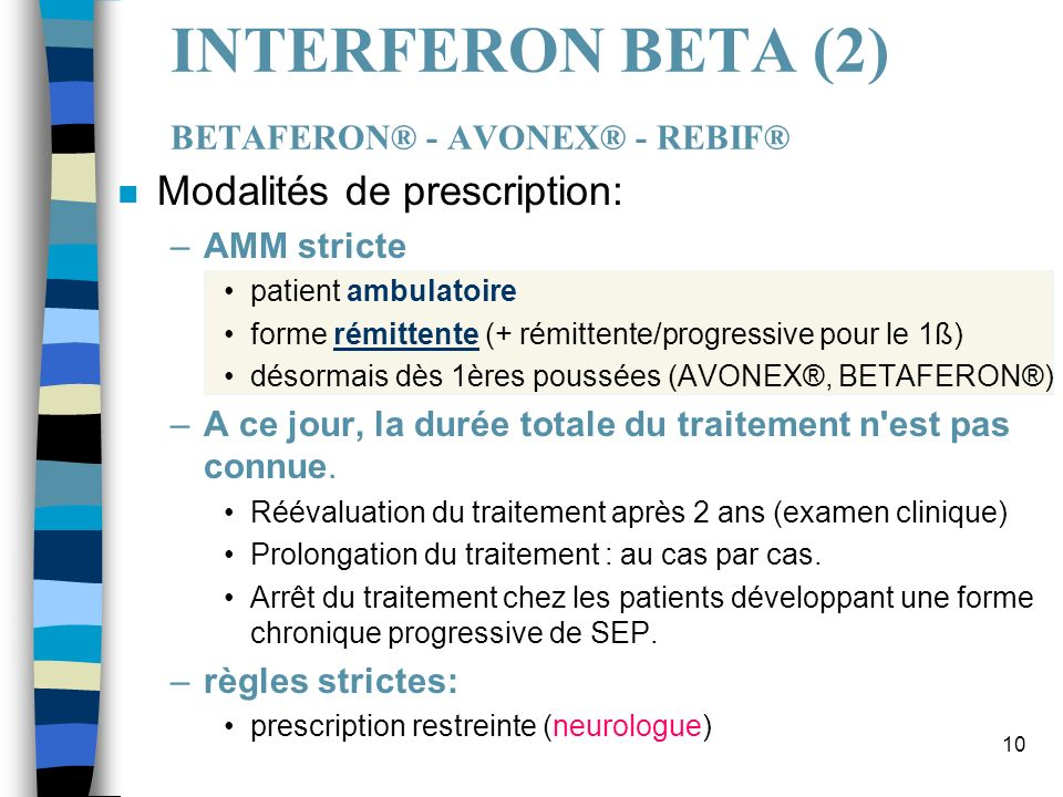 INTERFERON BETA (2) BETAFERON® - AVONEX® - REBIF®