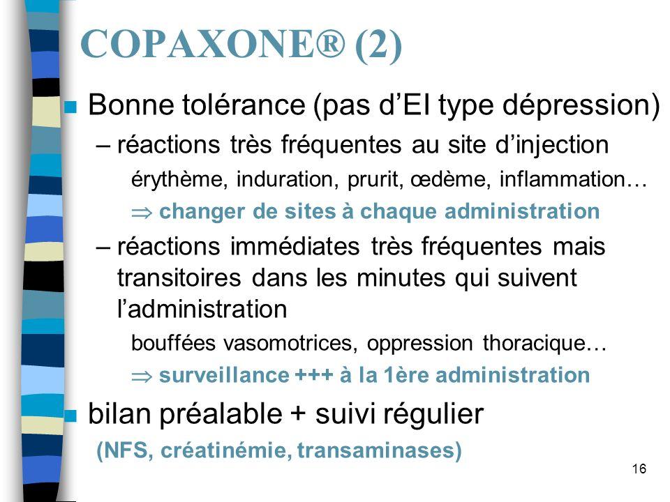 COPAXONE® (2) Bonne tolérance (pas d'EI type dépression)