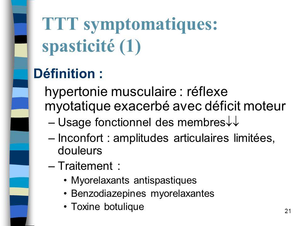 TTT symptomatiques: spasticité (1)