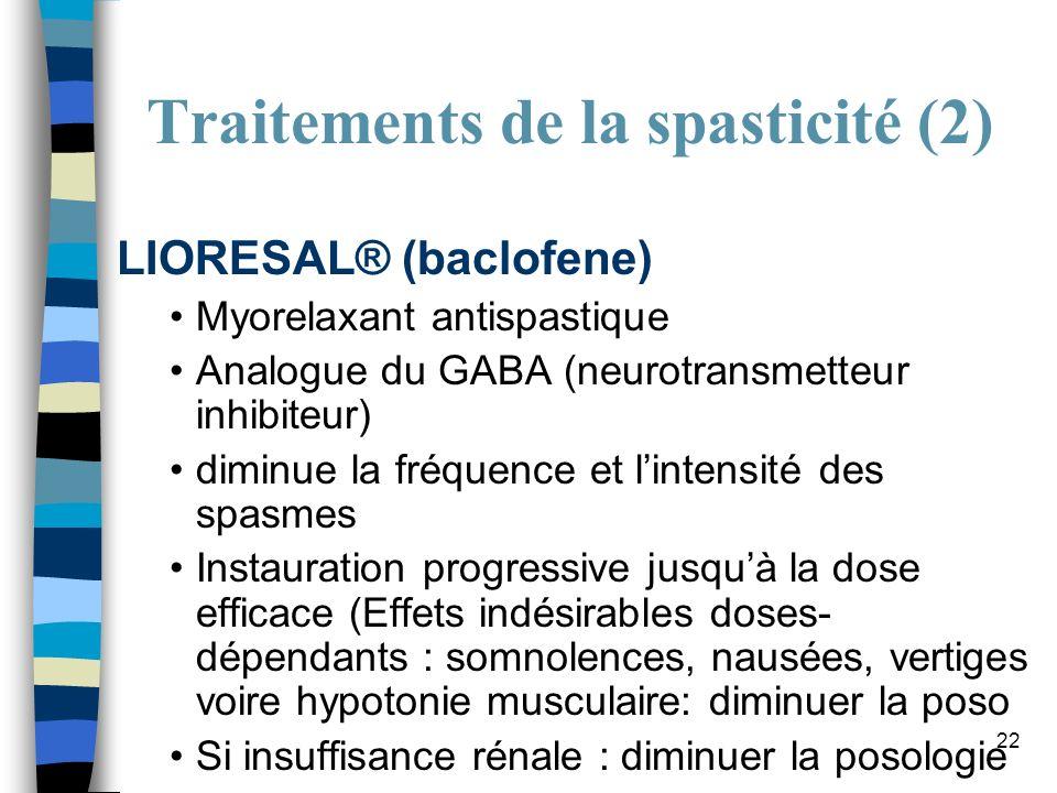 Traitements de la spasticité (2)