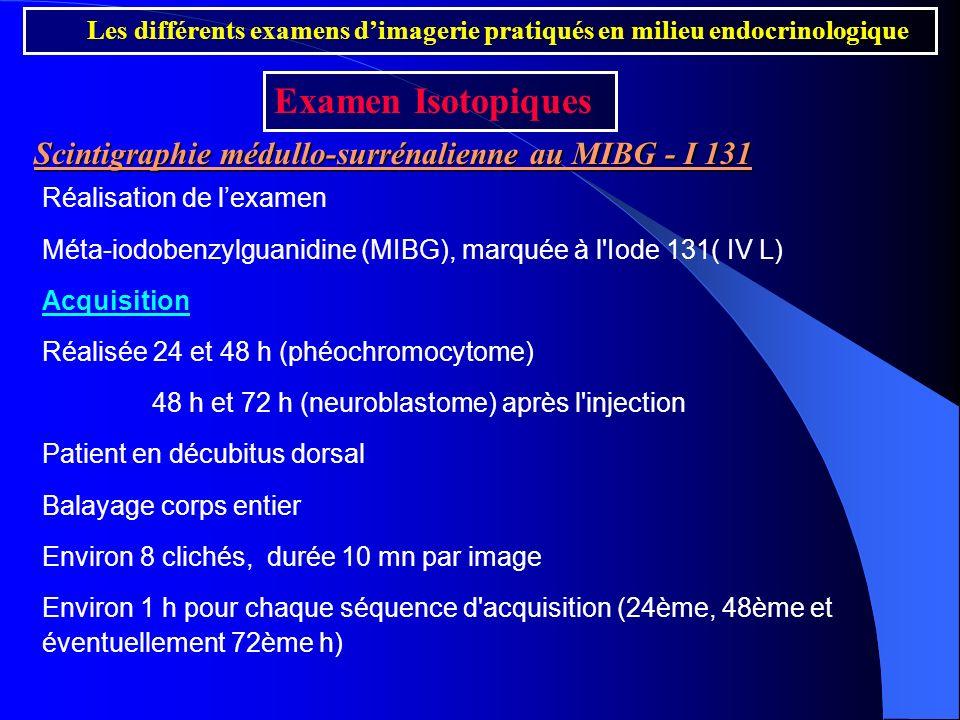 Examen Isotopiques Scintigraphie médullo-surrénalienne au MIBG - I 131