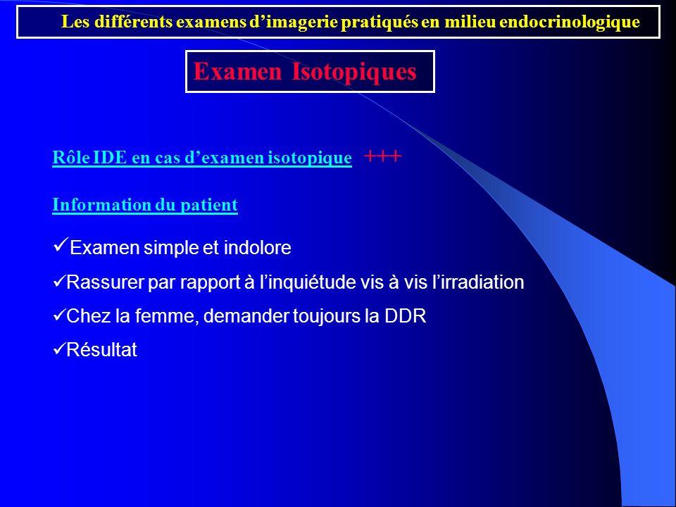 Examen Isotopiques Examen simple et indolore