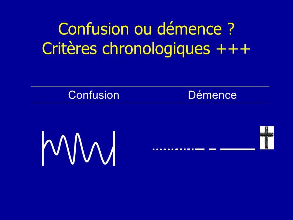 Confusion ou démence Critères chronologiques +++