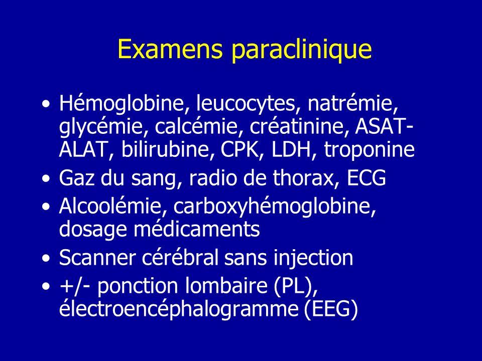 Examens paracliniqueHémoglobine, leucocytes, natrémie, glycémie, calcémie, créatinine, ASAT-ALAT, bilirubine, CPK, LDH, troponine.