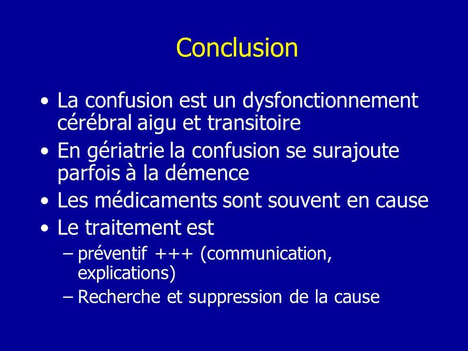 ConclusionLa confusion est un dysfonctionnement cérébral aigu et transitoire. En gériatrie la confusion se surajoute parfois à la démence.