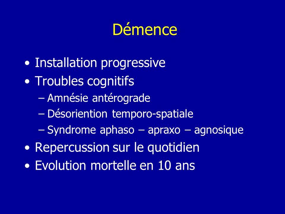 Démence Installation progressive Troubles cognitifs