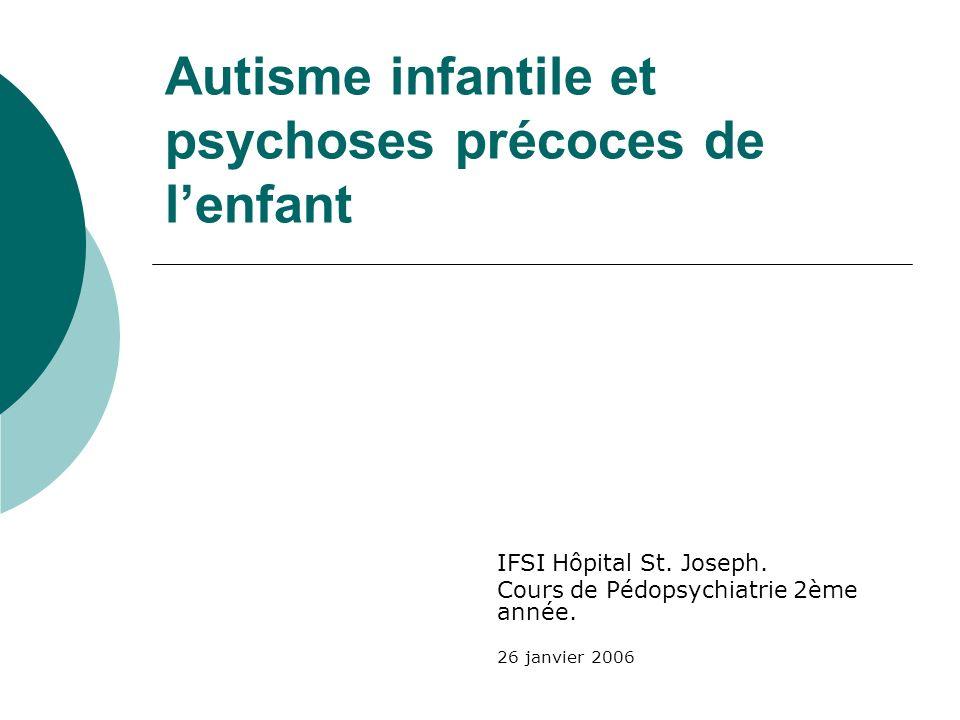 Autisme infantile et psychoses précoces de l'enfant