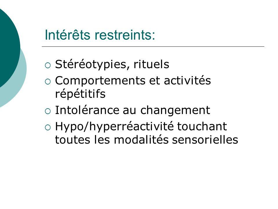 Intérêts restreints: Stéréotypies, rituels