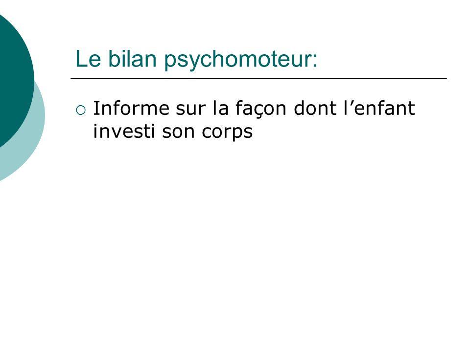 Le bilan psychomoteur: