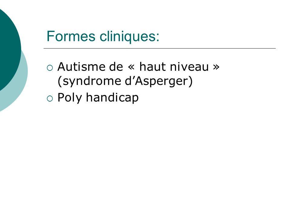 Formes cliniques: Autisme de « haut niveau » (syndrome d'Asperger)
