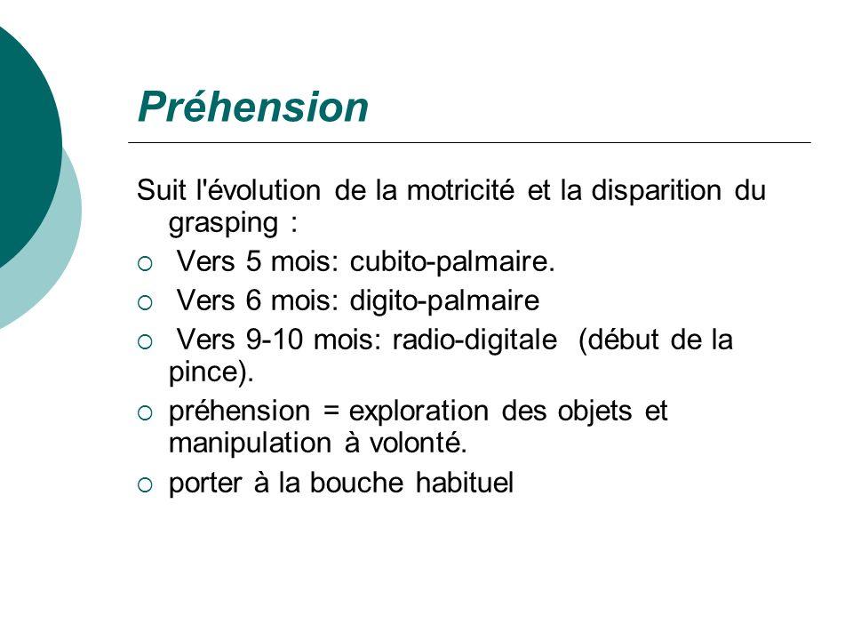 PréhensionSuit l évolution de la motricité et la disparition du grasping : Vers 5 mois: cubito-palmaire.
