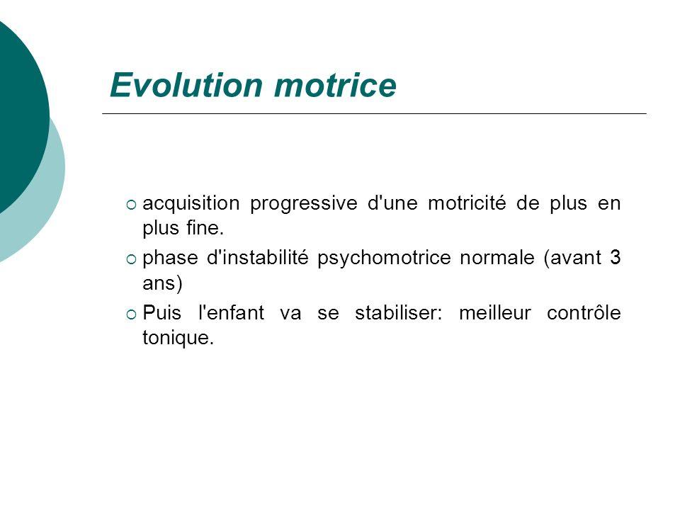 Evolution motriceacquisition progressive d une motricité de plus en plus fine. phase d instabilité psychomotrice normale (avant 3 ans)