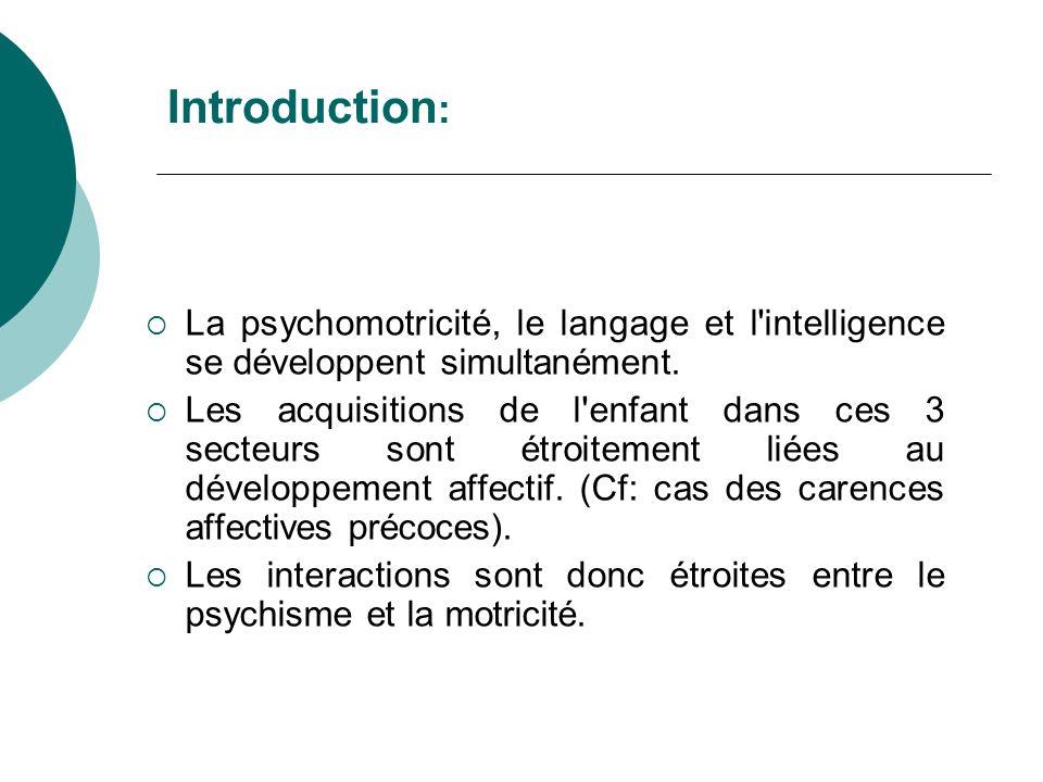 Introduction:La psychomotricité, le langage et l intelligence se développent simultanément.