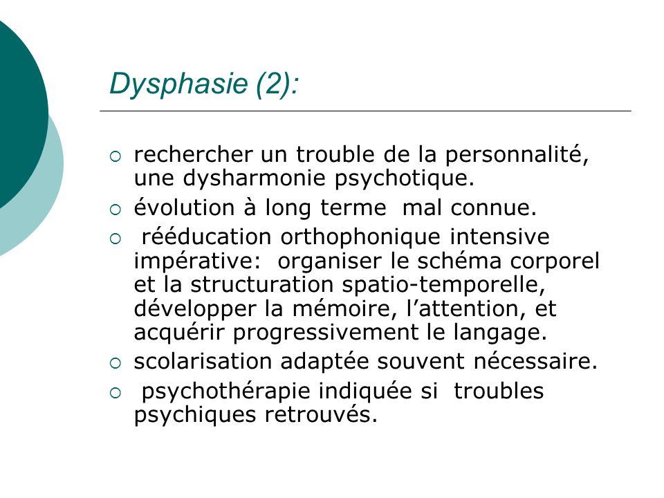 Dysphasie (2):rechercher un trouble de la personnalité, une dysharmonie psychotique. évolution à long terme mal connue.