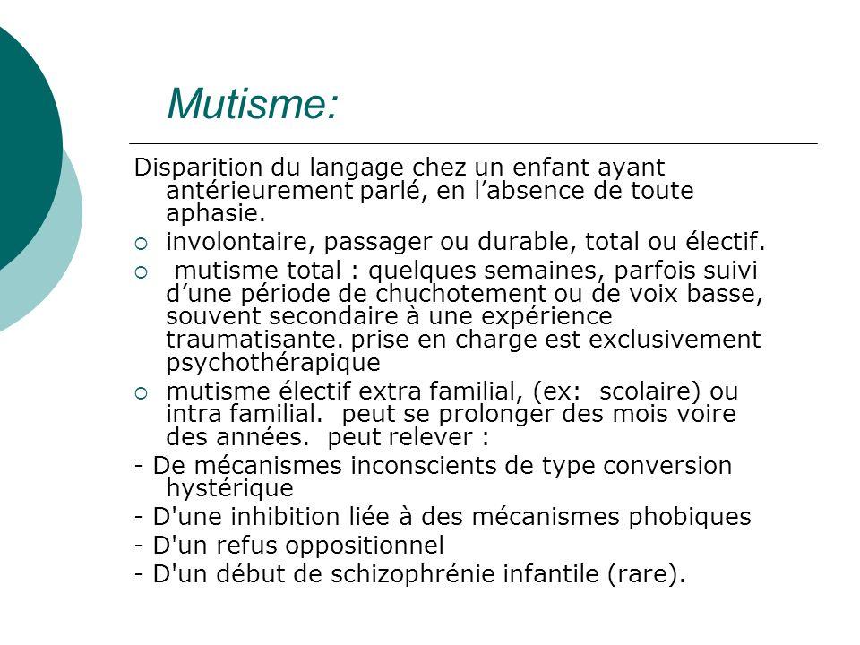 Mutisme:Disparition du langage chez un enfant ayant antérieurement parlé, en l'absence de toute aphasie.