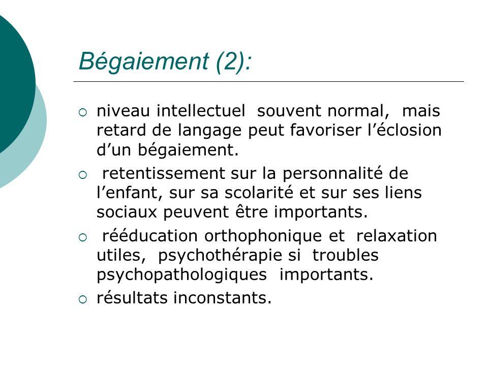 Bégaiement (2):niveau intellectuel souvent normal, mais retard de langage peut favoriser l'éclosion d'un bégaiement.